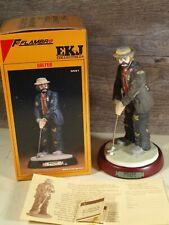 Flambro Emmett Kelly Jr Collection Golfer Clown & Original Box #9591 Excellent