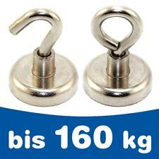 Topfmagnet Magnet mit Haken / Öse Ø 10 - 75mm, Neodym - Extra Stark - bis 160kg