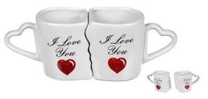 Partnertasse I Love you Pärchen Tassen Set Herz Henkel Valentinstag Hochzeit