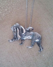 """HIGH QUALITY 92.5 STERLING SILVER OXIDIZED LION WITH 20"""" RHODIUM ROPE CHAIN"""