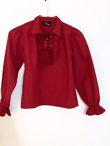 Kid's Pirate, Medieval, Renaissance Costume Red Cotton Ruffle Shirt