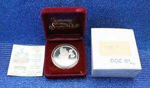WALT DISNEY RARITIES MINT 50TH ANN COIN .999 Silver 1 OZ W BOX & COA DWARFS DOC