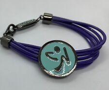 ZUMBA Fitness Wrapped Me Up, Scotty logo bracelet-purple&blue-rubber cord *NWOT