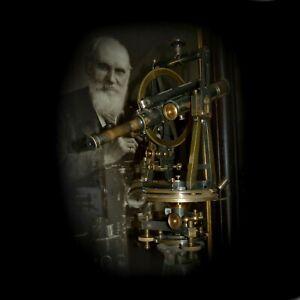 "Antique theodolite, 7"" Transit, Lord Kelvin & James White Glasgow. Cased, HUGE!"