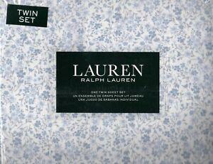Ralph Lauren Twin Sheet Set Meadow Floral 3pc Blue White Gray Classic Cottage