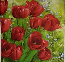 4 X SINGOLO Tovaglioli di carta tavolo Tulip Party-FIORI-DECOUPAGE Craft - 24
