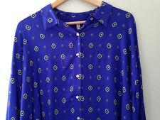 NWT Free People Intimately Women's Sleep Shirt Boxy Blue Button Up Blouse M $78