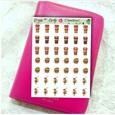 008 | COFFEE LATTE HOT CHOCOLATE HOMEMADE Planner Stickers Lady B Creations