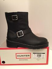Hunter Original Black Leather Biker Boots Size 37 *NEW
