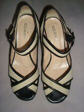HOBBs UK 5 EU 38 Ivory Textile / Navy Blue Leather platform  shoes