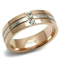 6mm rose gold ring cz stainless steel ladies mens two tone stainless steel new