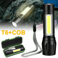 T6 COB Zoomable Light Lamp Torch with LED Flashlight 18650 USB Rechargeable Lamp
