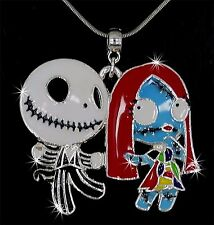 NIGHTMARE B4 XMAS JACK AND SALLY CHARM PENDANT SILVER CHAIN NECKLACE ENAMEL