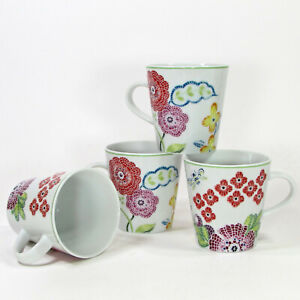 Anthropologie MOSAIC SPRING FLORAL 7oz Mug Cup Set 4Pc Flowers Bee Red Purple
