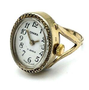 Vintage Watch Ring CHAIKA Women Soviet Golden Mechanical SERVICED RARE 17.5 Size
