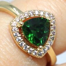 Vintage Green Emerald Ring Women Jewelry Gift 14K Yellow Gold Size 5.5 & 6