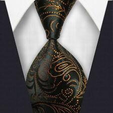 New Classic Striped WOVEN JACQUARD Silk Men's Suits Tie Necktie Dark Yellow M087