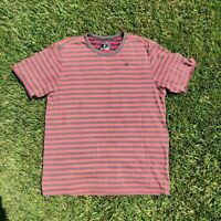 HURLEY Men's Shortsleeve Striped T-Shirt Surf Red Size Large Medium