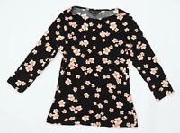 Dorothy Perkins Womens Size 10 Floral Cotton Black Flowers Long Sleeve T-Shirt (