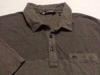 Travis Mathew Mens Large Short Sleeve Solid Gray Athletic Polo Golf Shirt