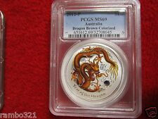 Australia 2012 PCGS MS69 Brown Colorized Dragon 1 troy oz Silver Coin Bullion