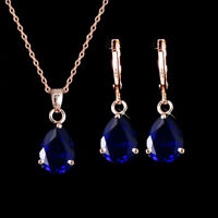 BEAUTIFUL 18K GOLD & SAPHIRE BLUE NECKLACE AND EARRINGS SET RRP $65