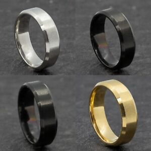 6mm Stainless Steel Mens Womens Wedding Band Black Gold Silver Ring Size M to Y