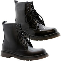 New Womens Ankle Chunky Platform Shoes Ladies Lace Up Goth Punk Shiny Boots Size