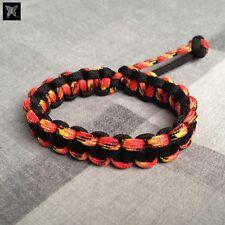 Mad Max Style Paracord Survival Bracelet - Fire Orange & Black