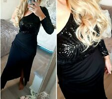 LIPSY SIZE UK 10 BLACK GEO SEQUIN ONE SHOULDER STRETCH MAXI DRESS @ NEXT / £80