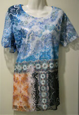 """""""Millers"""" Multicoloured top - floral & geometric design - short sleeve - Size XL"""