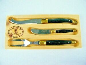Laguiole Jean Dubost Cheese Knife Fork Set Black Handles 3 Piece France EUC