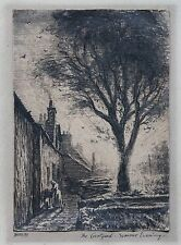 Hueso Firmado Original Bolígrafo De Tinta Dibujo a lápiz, Verano Patio, puesta de sol de gato mujer