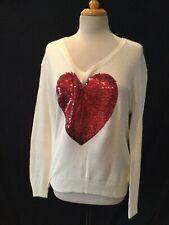 Nwot-Wildfox White Label, L/S Vnk Angora Blnd Sequin Heart Sweater, Cream, Small