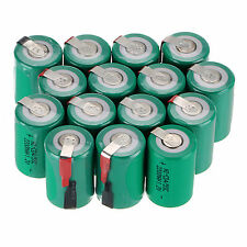 Hot 15 PCS Green Ni-Cd 4/5 SubC Sub C 1.2V 2200mAh Rechargeable Battery with Tab