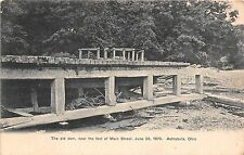 Ohio postcard Ashtabula The Old Dam near the foot of Main Street June 28 1879