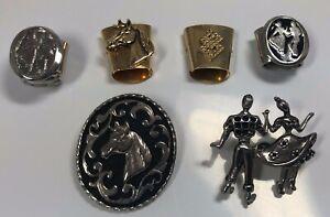 Vtg Western String Bolo Tie Horse Cowboy Tie Pins Clips 6 Pieces
