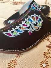 Moroccan Slippers - Handmade Authentic Leather Embroidered Women's Shoes.