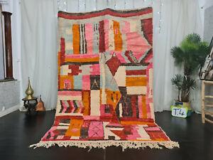 "Handmade Moroccan Boujad Carpet 5'4""x8'4"" Berber Patchwork Pink Red Orange Rug"