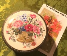 FRENCH 1940s LOVELY TRINKET BOX~SILVER PEWTER & LIMOGES PORCELAIN~FLORAL BOUQUET