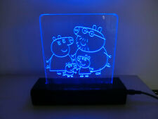 LAMPADA ABATJOUR PEXIGLASS DESIGN A LED BLU MADE IN ITALY PEPPA PIG FAMIGLIA