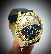 Versace Women's KRIOS Microspheres Swiss Quartz Black leather Watch VAS030016