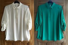 Evans New White /Ivory Emerald Green Business Work Shirt Blouse Top 14 - 26