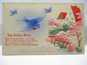 1910 EMBOSSED POSTCARD BEST BIRTHDAY WISHES, BLUEBIRDS & COUNTRY HOMES