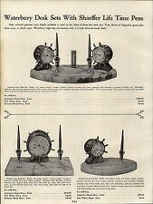 1937 PAPER AD Waterbury Clock Desk Sets Ship's Bell Wheel Sheaffer Fountain Pen