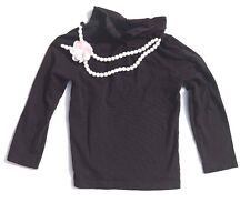 GYMBOREE GIRLS 5T Black LONG SLEEVE SHIRT W/ WHITE NECKLACE That Buttons OFF