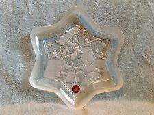 """Original WALTHER GLAS Frosted 9 1/4"""" """" Santa"""" Christmas Serving Dish NEW"""