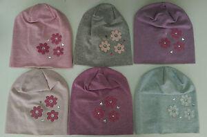 GIRLS COTTON SPRING AUTUMN HAT Child Cotton Kids Pink Grey Flower 1 3 5 7 Years
