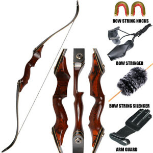 40-60lbs 58Inch Archery Laminated Takedown Recurve Bow Hunting Set Wooden Riser