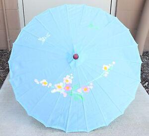 "32"" Inch Dia Light Blue Floral Wood Bamboo Nylon Parasol Umbrella Decoration"
